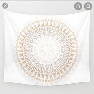 Society6 Beige White Mandala Tapestry